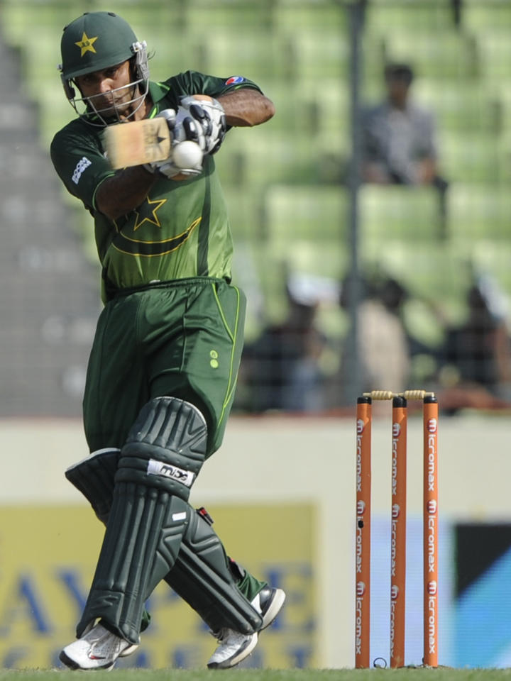 Pakistan batsman Mohammad Hafeez plays a shot during the one day international (ODI) Asia Cup cricket match between Bangladesh and Pakistan at The Sher-e-Bangla National Cricket Stadium in Dhaka on March 11, 2012. AFP PHOTO/Munir uz ZAMAN (Photo credit should read MUNIR UZ ZAMAN/AFP/Getty Images)