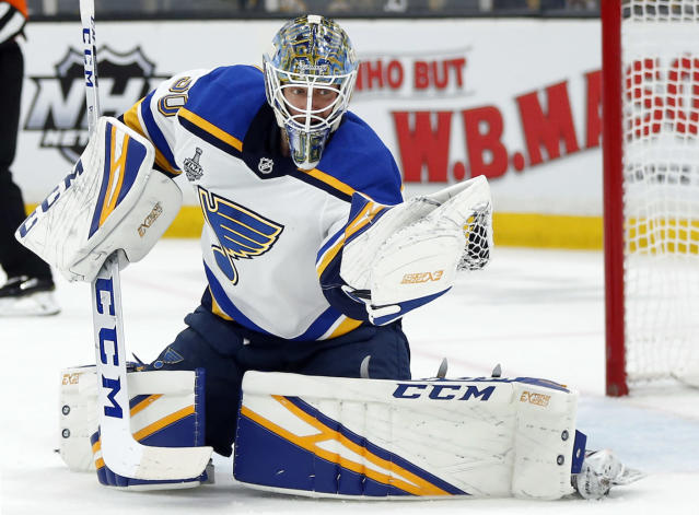 St. Louis Blues goaltender Jordan Binnington surprised one of his biggest fans during his day with the Stanley Cup. (AP Photo/Michael Dwyer)