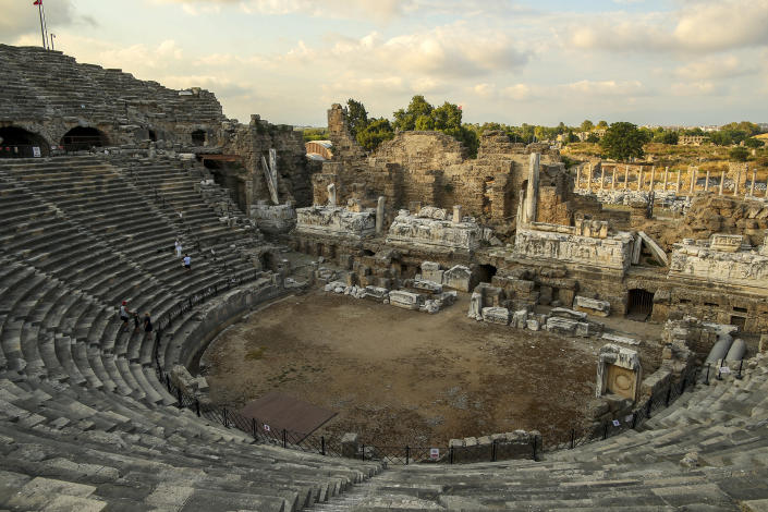 A partial view of the ancient Roman theatre in Antalya, southern Turkey, on Sunday, June 20, 2021. Hotels in Turkey's Antalya region, a destination beloved by holidaymakers, are preparing to finally resume operations as they expect the return of international tourists after months of setbacks caused by the pandemic that halted travel. (AP Photo/Emrah Gurel)