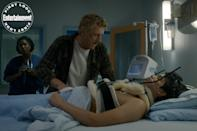 """<p>Johnny visits his injured former pupil Miguel (Xolo Maridueña), who suffered a grave injury in the <a href=""""https://ew.com/tv/2019/04/29/cobra-kai-season-2-spoiler-questions-answered/"""" rel=""""nofollow noopener"""" target=""""_blank"""" data-ylk=""""slk:season 2 finale"""" class=""""link rapid-noclick-resp"""">season 2 finale</a>.</p>"""