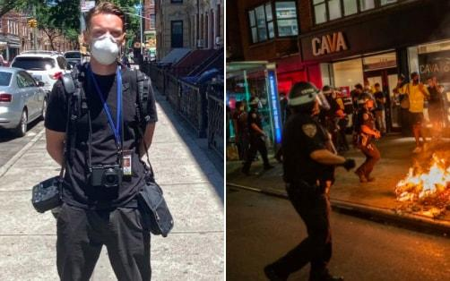 Adam Gray, a British photographer who has worked with The Telegraph, says he was pushed and pinned to the ground by police while covering a protest in New York - Adam Gray