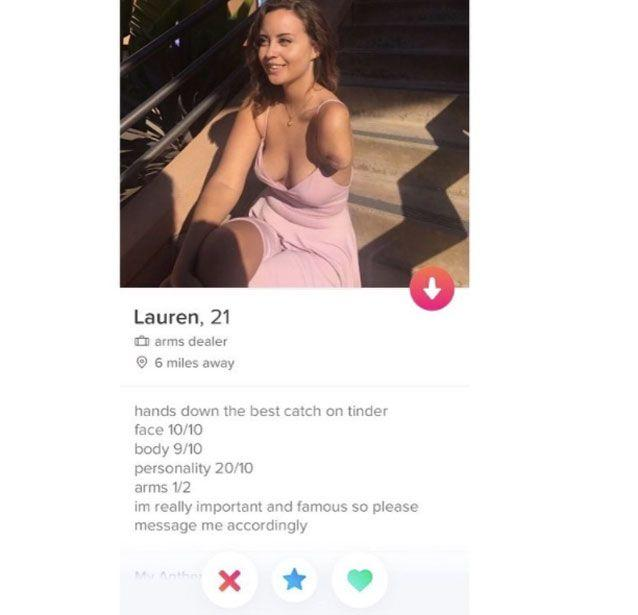 Lauren's Tinder profile has gone viral. Source: Tinder