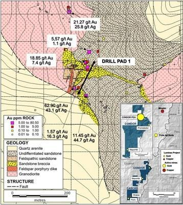 Figure 1. Location of initial drill hole with surface geology and rock chip sample results. (CNW Group/Luminex Resources Corp.)