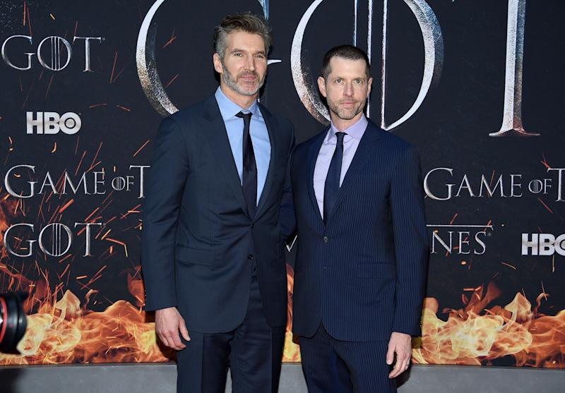"Creator/executive producers David Benioff, left, and D. B. Weiss attend HBO's ""Game of Thrones"" final season premiere at Radio City Music Hall on Wednesday, April 3, 2019, in New York. (Photo by Evan Agostini/Invision/AP)"