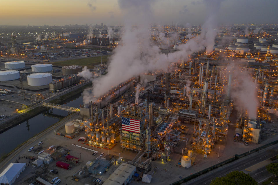 CARSON, CALIFORNIA - APRIL 22: An aerial view shows Marathon Petroleum Corp's Los Angeles Refinery, the state's largest producer of gasoline, as oil prices have cratered with the spread of the coronavirus pandemic on April 22, 2020 in Carson, California. Crude oil prices dropped into negative territory for the first time on April 20 with millions of barrels going unused after travel restrictions and widespread social distancing measures brought on by the coronavirus (COVID-19) pandemic all but obliterated global energy demand. Today marks the 50th anniversary of Earth Day, the annual celebration of the environmental movement. (Photo by David McNew/Getty Images)