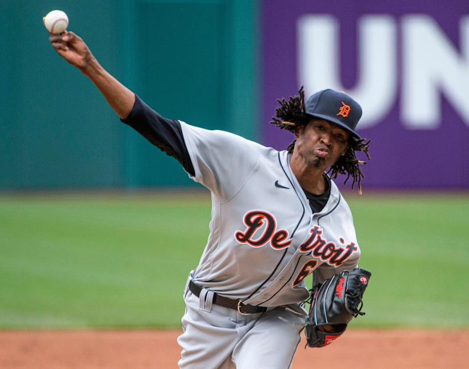 Detroit Tigers starting pitcher Jose Urena delivers against the Cleveland Indians during the first inning of a baseball game in Cleveland, Sunday, April 11, 2021.