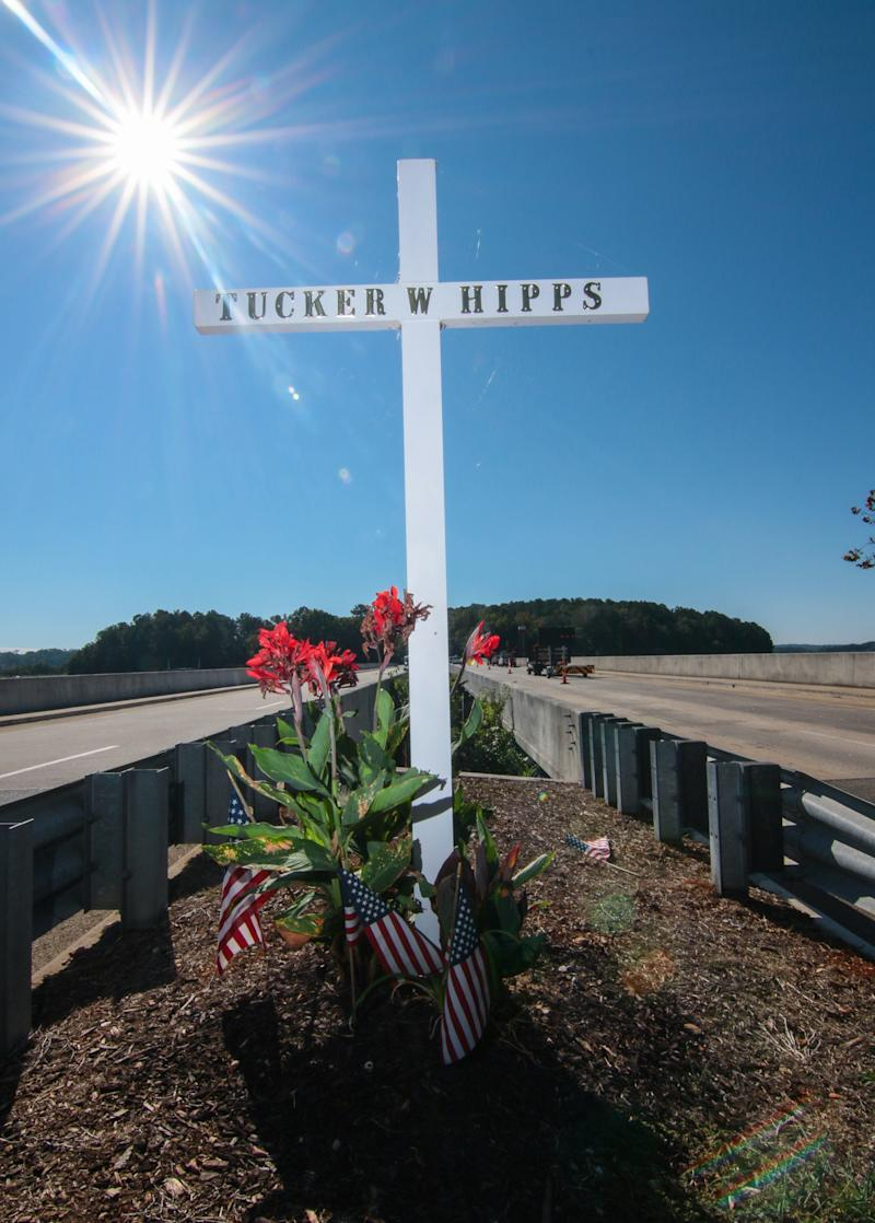 A memorial stands for Tucker Hipps, who died in Sept. 22, 2014, after a fall off the S.C. 93 bridge over Hartwell Lake near Clemson University.