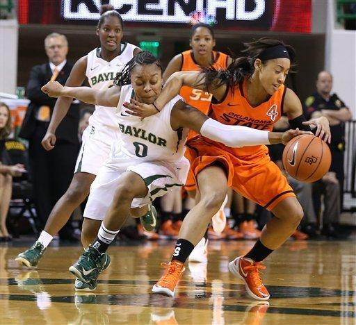 Baylor's Odyssey Sims (0) left, reaches for a loose ball with Oklahoma State's Tiffany Bias (3), right, in the second half of an NCAA college basketball game on Sunday, Jan. 6, 2013, in Waco, Texas. (AP Photo/Waco Tribune Herald, Rod Aydelotte)