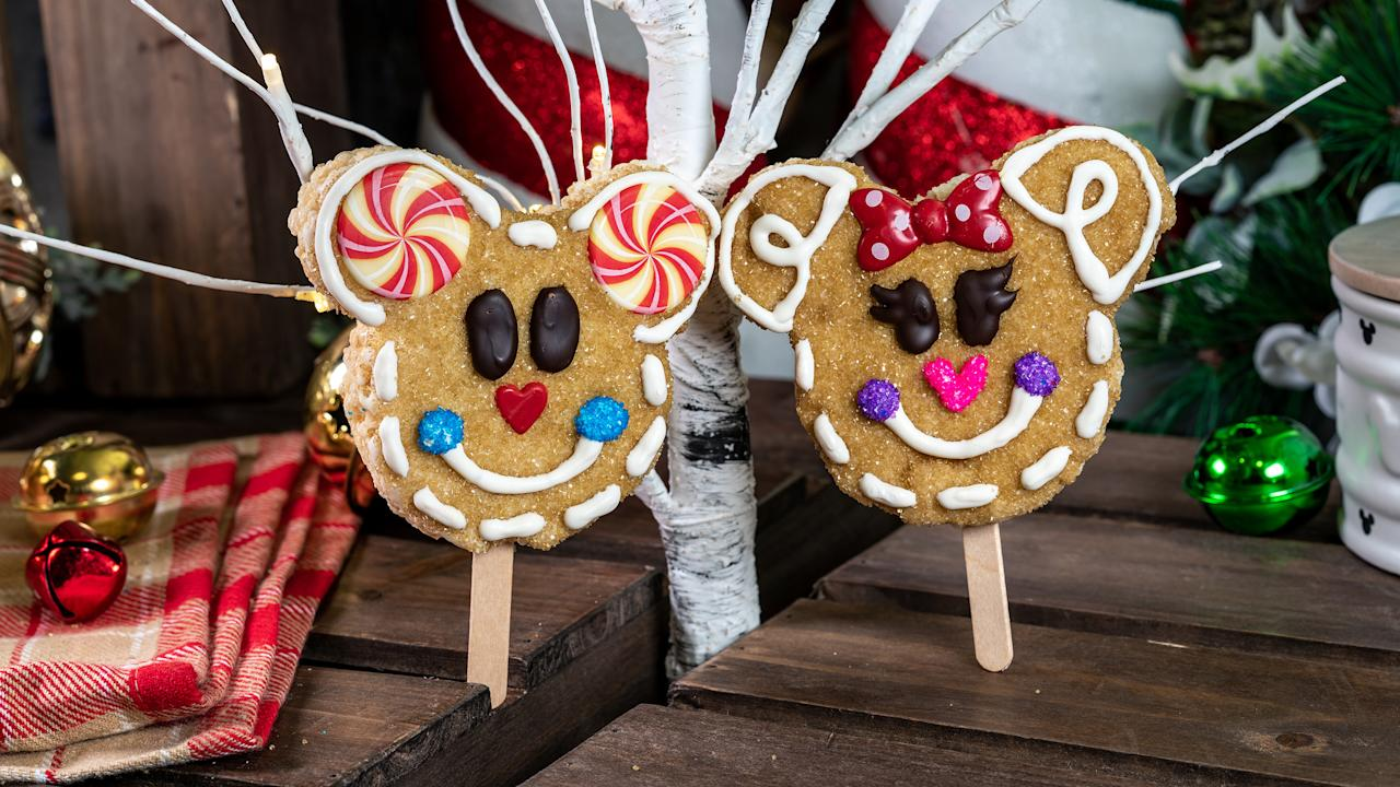 The Gingerbread Mickey/Minnie Crispy treats almost look too good to eat. Photo: Supplied/Disney