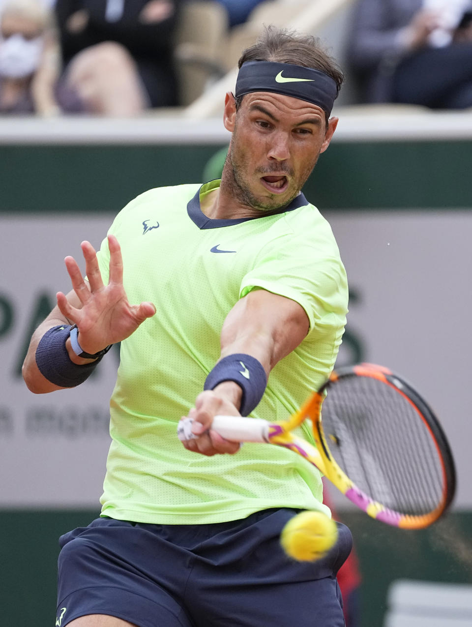 Spain's Rafael Nadal plays a return to Britain's Cameron Norrie during their third round match on day 7, of the French Open tennis tournament at Roland Garros in Paris, France, Saturday, June 5, 2021. (AP Photo/Michel Euler)