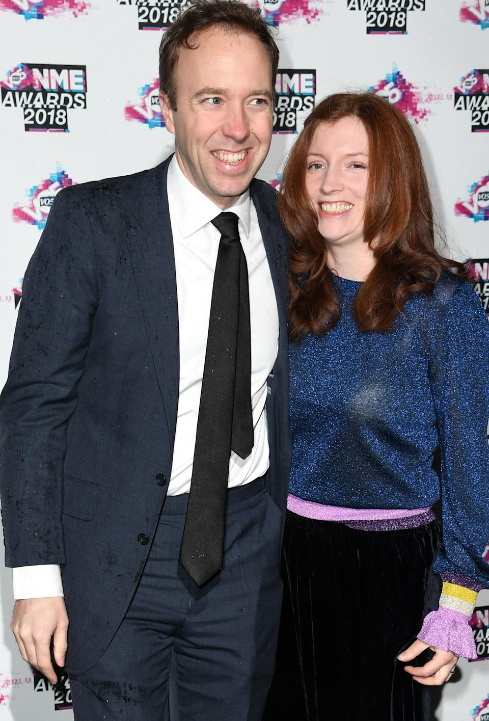 Secretary of State for Digital, Culture, Media and Sport Matt Hancock and his wife Martha attending the VO5 NME Awards 2018 held at the O2 Brixton Academy, London