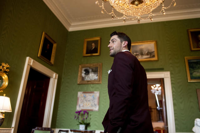 WASHINGTON, DC - MAY 9: Nathan Eovaldi #17 of the Boston Red Sox takes a tour during a visit to the White House in recognition of the 2018 World Series championship on May 9, 2019 in Washington, DC. (Photo by Billie Weiss/Boston Red Sox/Getty Images)