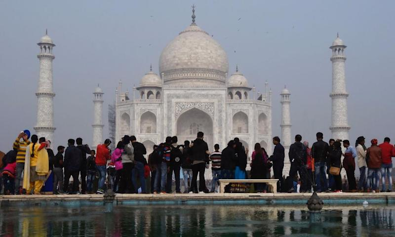 Crowds gather outside the Taj Mahal in Agra, India.