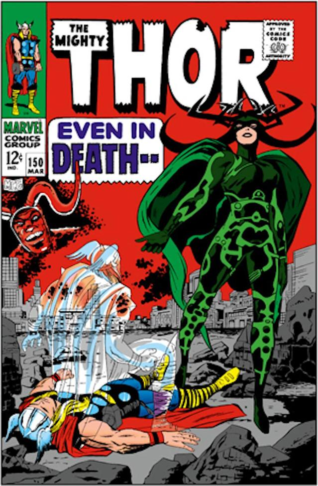 Thor and Hela on the cover of <i>The Mighty Thor</i> No. 150, a source for <i>Thor: Ragnaork</i>. (Image: Marvel Comics)