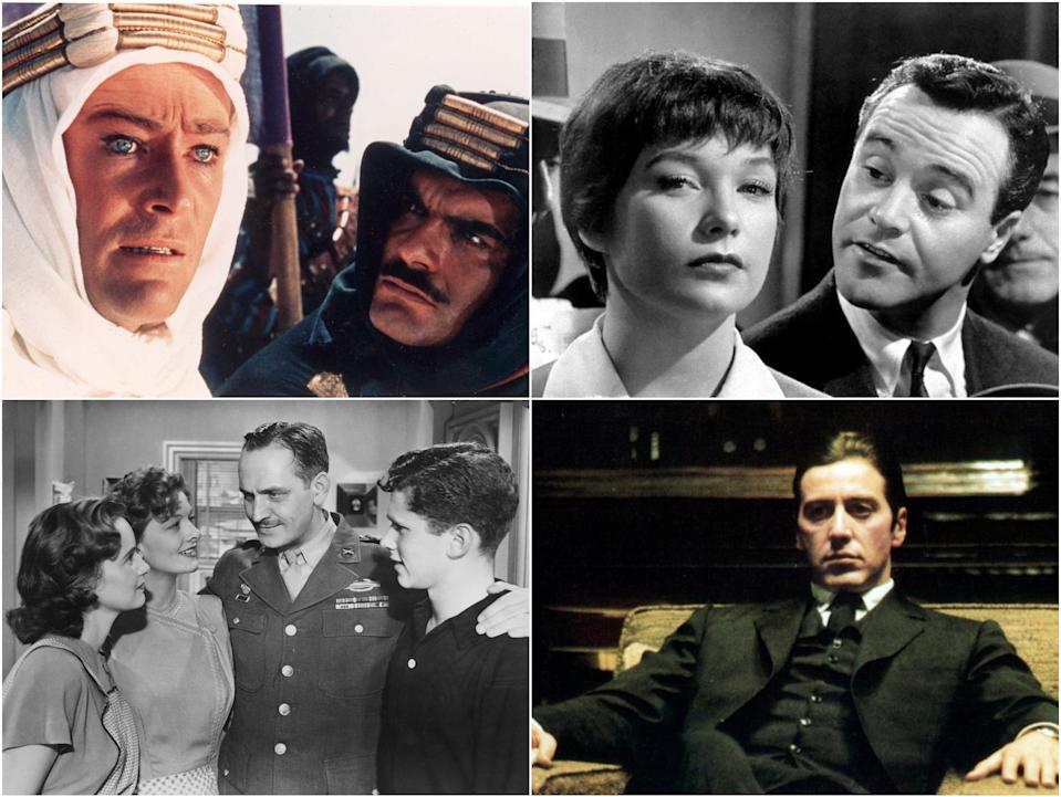 Clockwise from top right: Lawrence of Arabia, The Apartment, The Godfather Part II, The Best Years of our Lives (Columbia/Paramount)