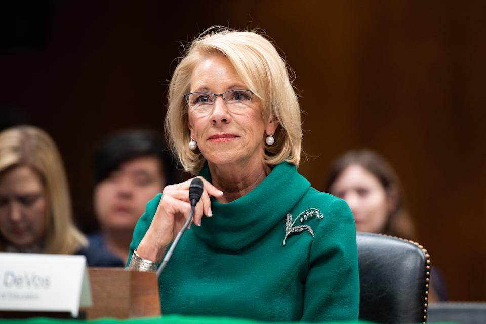 Betsy DeVos, Secretary of Education, speaks at a hearing of the Senate Appropriations Subcommittee on Labor, Health and Human Services, Education, and Related Agencies in Washington.