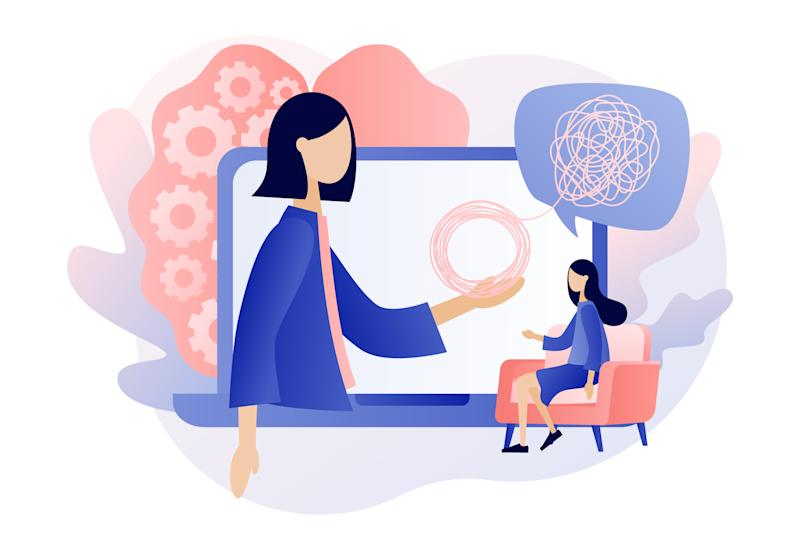 Psychologist online. Psychotherapy practice, psychological help, psychiatrist consulting patient. Psychology. Modern flat cartoon style. Vector illustration
