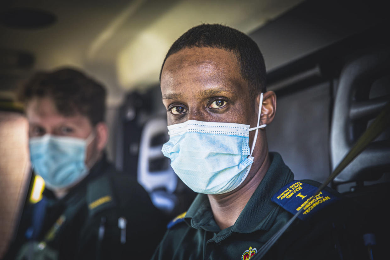Programme Name: Ambulance S7 - TX: n/a - Episode: Ambulance S7 - ep 5 (No. 5) - Picture Shows: (l-r) Jack and Deeq  - (C) Dragonfly Film and Television - Photographer: Ryan McNamara