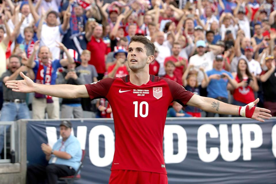 Christian Pulisic celebrates one of his two goals against Trinidad and Tobago back in June. (Getty)