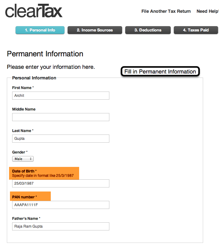 3. Fill in Permanent Information such as your Name, PAN number, Date of Birth and Father's Name.