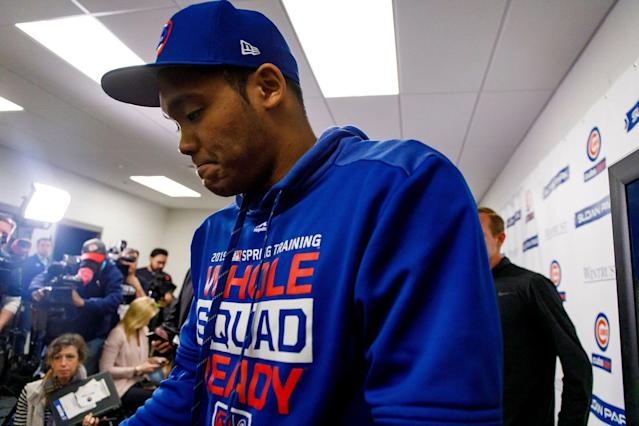 Chicago Cubs shortstop Addison Russell addresses the media about his suspension for domestic violence Friday, Feb. 15, 2019 during spring training in Mesa, Ariz. (Getty Images)