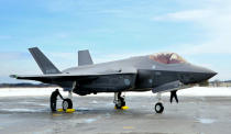 This January 2018, photo shows Japanese Air Self-Defense Force's F-35A stealth fighter at Misawa Air Base in Misawa, northern Japan. Japan approved Friday, Dec. 20 ,2019, a draft defense budget that included cost to develop own fighter jets to succeed the nation's aging warplanes and import some of F-35 stealth fighters as components for assembly at home rather than importing the expensive American warplanes as finished products to reduce costs and acquire expertise. (Kyodo News via AP)