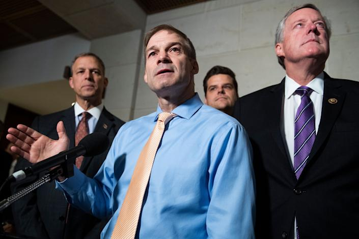 From left, Reps. Scott Perry (R-Pa.), Jim Jordan (R-Ohio), Matt Gaetz (R-Fla.) and Mark Meadows (R-N.C.) speak to the media after Gordon Sondland, U.S. ambassador to the European Union, was blocked by the State Department from appearing for a deposition about President Trump's dealings with Ukraine on Oct. 8, 2019. (Photo: Photo By Tom Williams/CQ-Roll Call, Inc via Getty Images)
