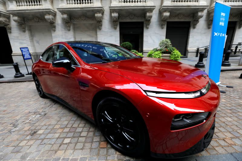 FILE PHOTO: An Xpeng P7 performance electric vehicle is seen outside the New York Stock Exchange