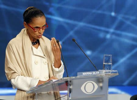 Presidential candidate Marina Silva of Brazilian Socialist Party (PSB) speaks during the first television debate at the Bandeirantes TV studio in Sao Paulo August 26, 2014. REUTERS/Paulo Whitaker