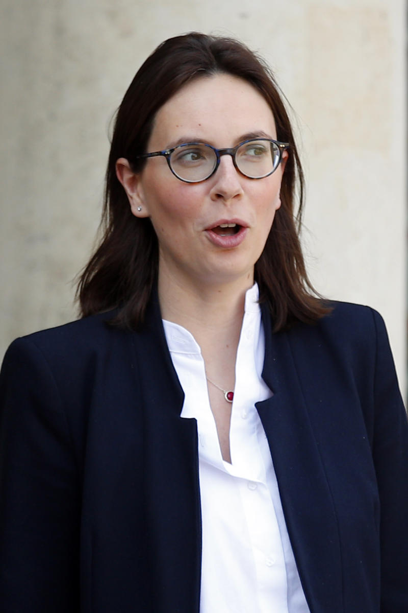 Amelie de Montchalin, new junior minister for European affairs walks out after the weekly cabinet meeting at the ELysee Palace in Paris, Monday, April 1, 2019. French President Emmanuel Macron has appointed three new government members, including the minister who will be in charge of handling Brexit-related issues. (AP Photo/Francois Mori)