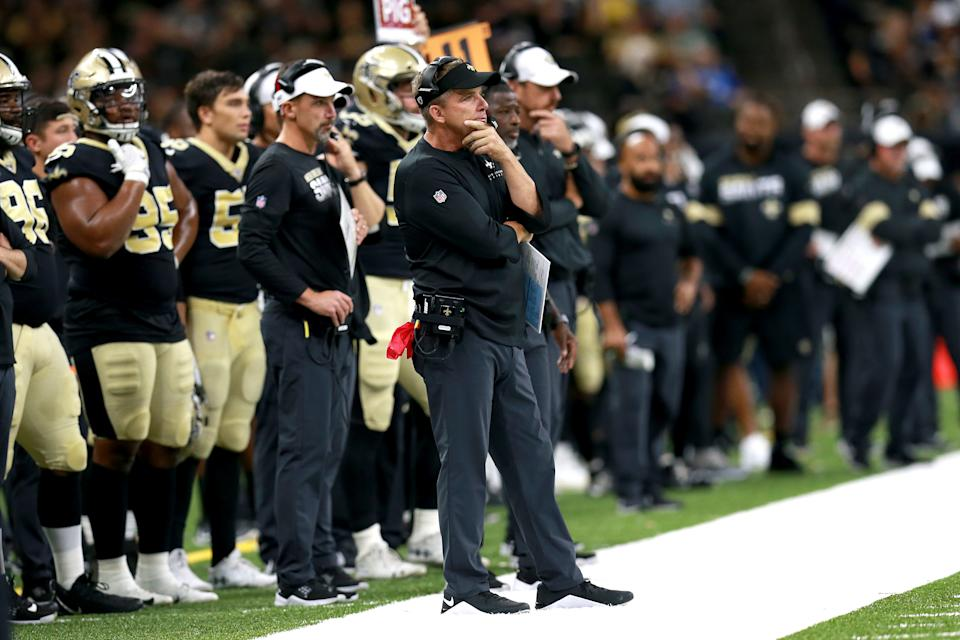 Sean Payton stands on the sidelines.