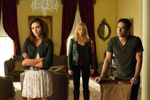 "Phoebe Tonkin as Hayley, Candice Accola as Caroline and Michael Trevino as Tyler in ""The Killer,"" the fifth episode of ""The Vampire Diaries"" Season 4."