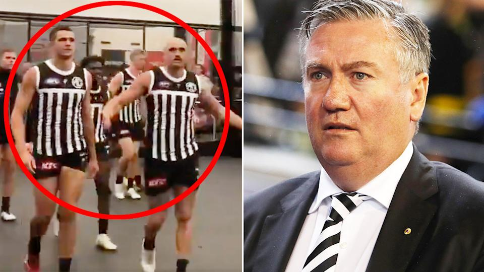 Former Collingwood president Eddie McGuire is seen on the right, with Port Adelaide players on the left.