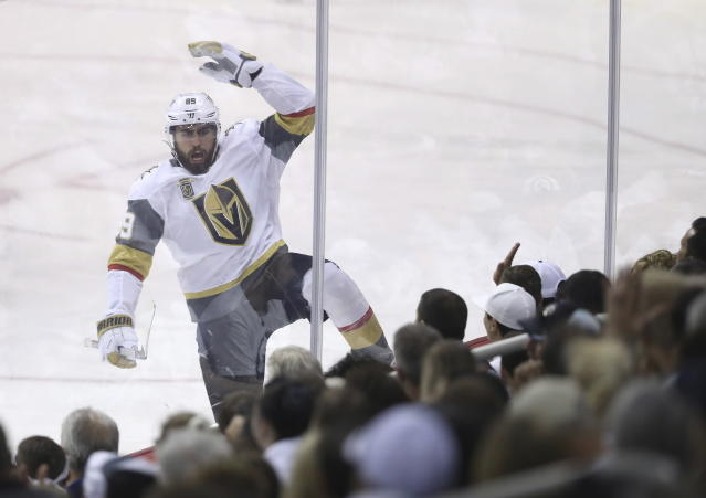 Vegas Golden Knights' Alex Tuch (89) celebrates after scoring during first period NHL Western Conference Finals game 5 hockey action against the Winnipeg Jets, in Winnipeg, Sunday, May 20, 2018. (Trevor Hagan/The Canadian Press via AP)