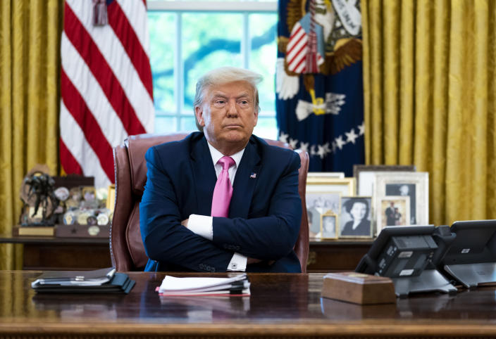 President Donald Trump during a meeting in the Oval Office of the the White House in Washington, July 20, 2020. (Doug Mills/The New York Times)