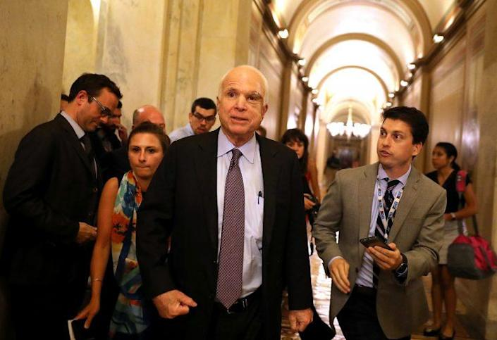 Sen. John McCain (R-AZ) leaves the the Senate chamber at the U.S. Capitol after voting on the GOP 'Skinny Repeal' health care bill on July 28, 2017 in Washington, DC. Three Senate Republicans voted no to block a stripped-down, or 'Skinny Repeal,' version of Obamacare reform. (Photo: Justin Sullivan/Getty Images)