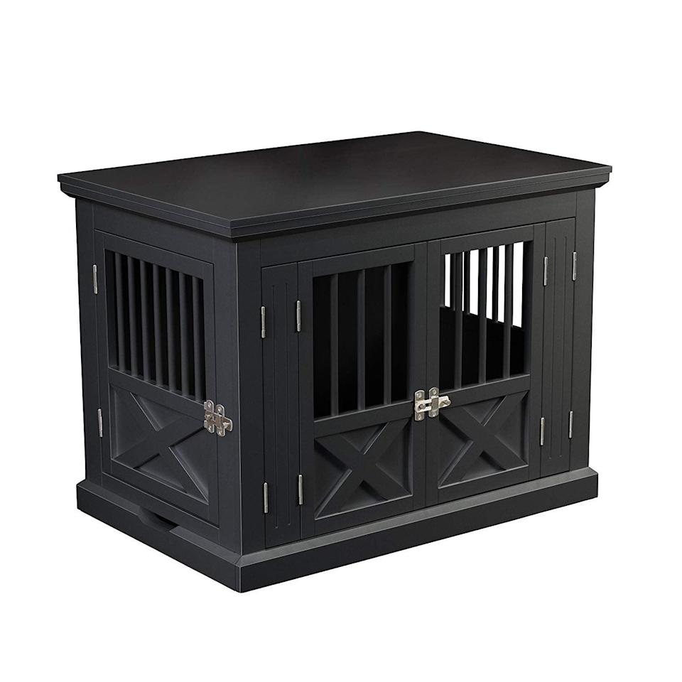 """<p>The <a href=""""https://www.popsugar.com/buy/Zoovilla%20Dog%20Crate-457452?p_name=Zoovilla%20Dog%20Crate&retailer=amazon.com&price=142&evar1=moms%3Aus&evar9=46016697&evar98=https%3A%2F%2Fwww.popsugar.com%2Ffamily%2Fphoto-gallery%2F46016697%2Fimage%2F46016702%2FZoovilla-Dog-Crate&list1=dogs&prop13=api&pdata=1"""" rel=""""nofollow noopener"""" target=""""_blank"""" data-ylk=""""slk:Zoovilla Dog Crate"""" class=""""link rapid-noclick-resp"""">Zoovilla Dog Crate</a> ($142) has doors on two sides, so you can arrange it in a way that works with your furniture.</p>"""
