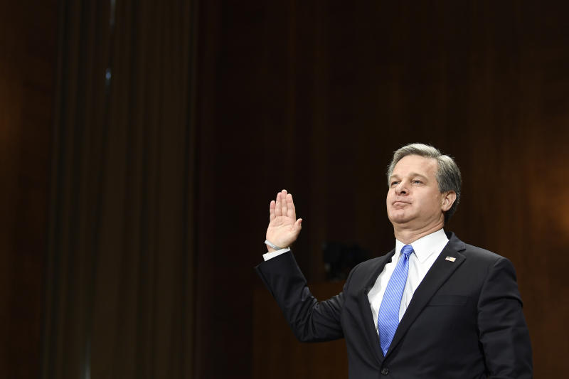 FBI Director Christopher Wray is sworn in before he testifies before the Senate Judiciary Committee on Capitol Hill in Washington, Tuesday, July 23, 2019. Wray's appearance before the committee could be something of a preview of the intense questioning special counsel Robert Mueller is likely to face in Congress the next day. (AP Photo/Susan Walsh)