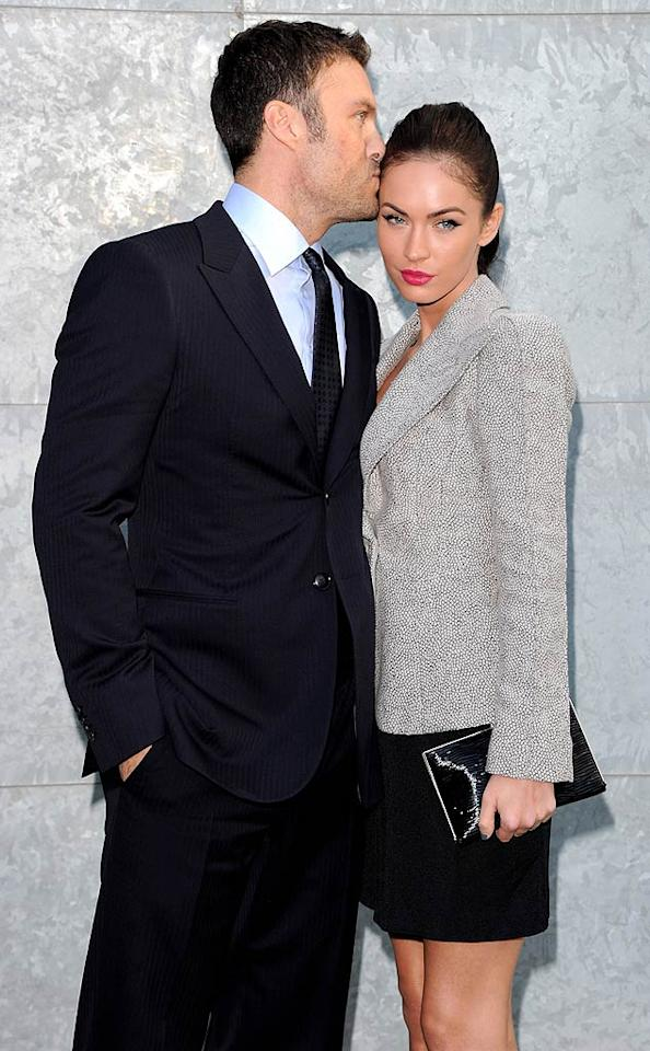 """Giving Clooney and Canalis a run for their money in the PDA stakes were newlyweds Brian Austin Green and Megan Fox. The two couples were then seated next to each other in the front row at the catwalk show ... wonder what they talked about?! Venturelli/<a href=""""http://www.wireimage.com"""" target=""""new"""">WireImage.com</a> - September 27, 2010"""