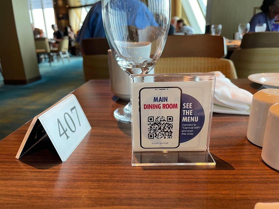 An image of the QR code in the dining room.