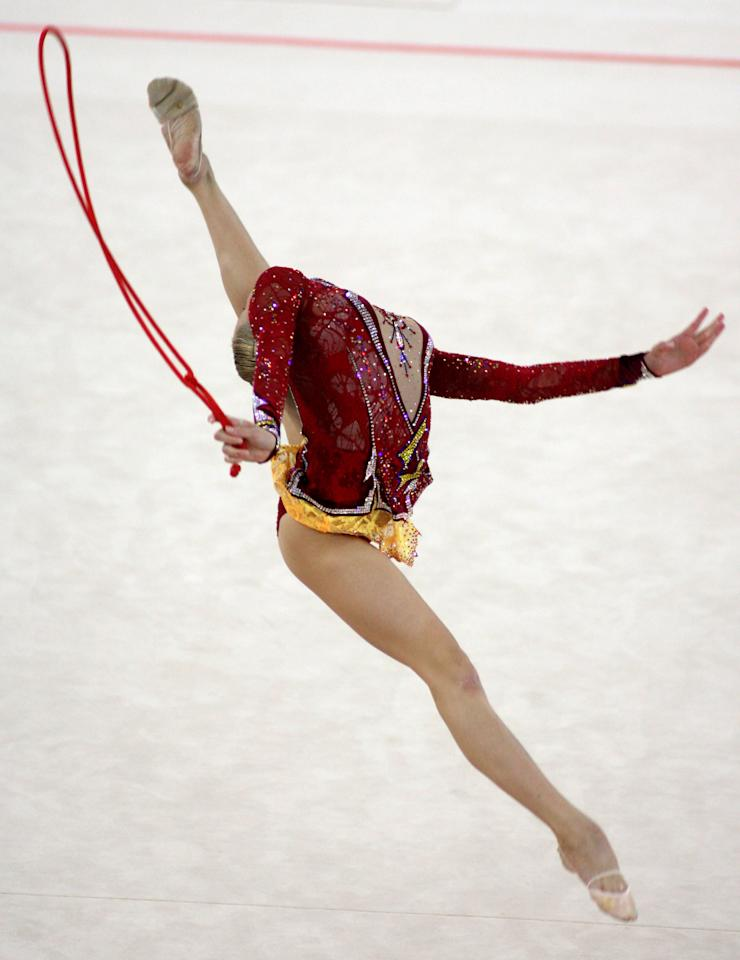 Olga Kapranova from Russia performs in the individual rope final during the 28th Rhythmic Gymnastics World Championships in the city of Patras, southern Greece, Friday, Sept. 21, 2007. Kapranova won the bronze medal.   (AP Photo/Thanassis Stavrakis)