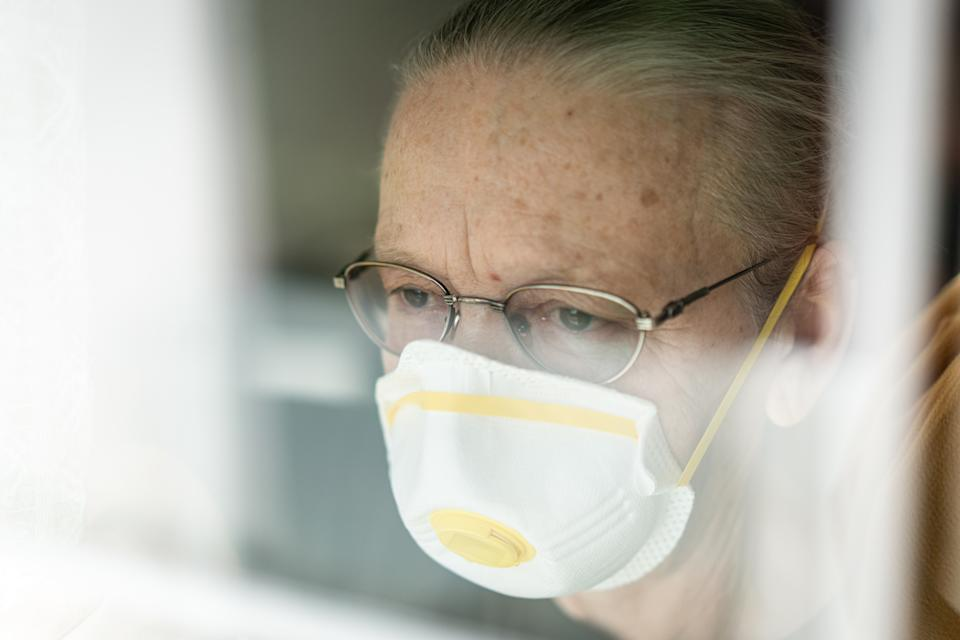 Senior woman in quarantine of Corona virus