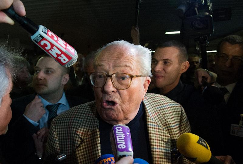 "From the vengeful naked appearance of an ex-wife in Playboy to the treachery and ""ex-communication"" of an eldest daughter, Jean-Marie Le Pen (pictured) has a colourful family history"