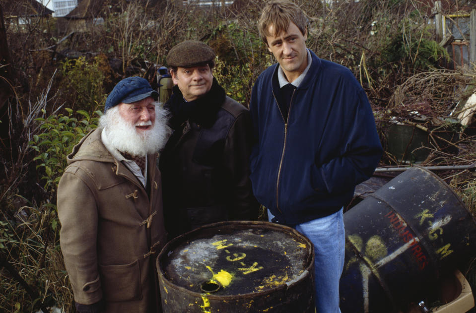 Actors (L-R) Buster Merryfield, David Jason and Nicholas Lyndhurst pictured filming scenes for episode 'Mother Nature's Son' of the television sitcom 'Only Fools and Horses', November 25th 1992. (Photo by Don Smith/Radio Times/Getty Images)