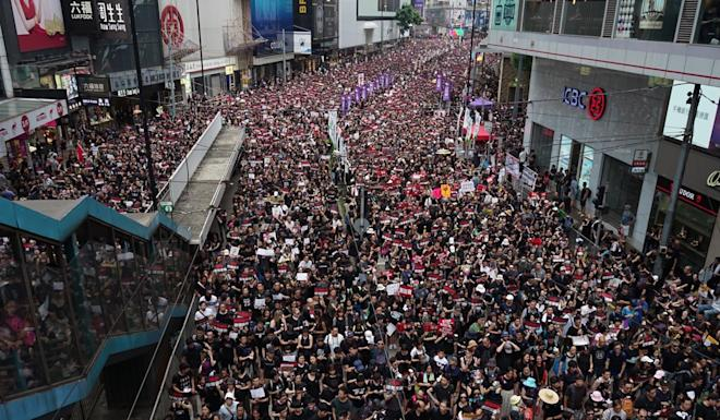 An estimated two million people marched on June 16 in Hong Kong against the extradition bill. Photo: Handout