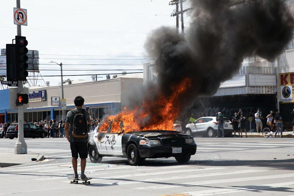 """<span class=""""caption"""">After George Floyd's death at the hands of police in Minneapolis, Minn., protestors all over the United States, including in Los Angeles, pictured here on May 30, 2020, demonstrated against police brutality. </span> <span class=""""attribution""""><span class=""""source"""">(Shutterstock)</span></span>"""