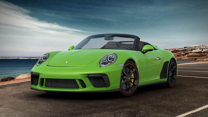 <p><em>Alexander Stoklos</em>a: The Speedster is the rare 911 model I don't like. In its bottom-heavy modern form, Porsche's iconic sports car looks unbalanced, its chopped-windshield and humpbacked Speedster treatment losing visually to the fat, hippy lower body. Plus it costs an unruly sum-gimme the mechanically similar and much cheaper GT3 all day. All of which explains why I went with the ugliest Speedster Porsche's configurator allows, a Lizard Green (the paint costs $4220) example with a black-and-red-colored interior ($3480) and red-painted accents on its black wheels ($710), plus gloss-black door handles ($170). With the Speedster's dual humps on its rear deck looking for all the world like the tense rear legs of an amphibious creature preparing for a jump, I figure this is the closest any automobile gets to a mechanized Poison Dart frog. </p>