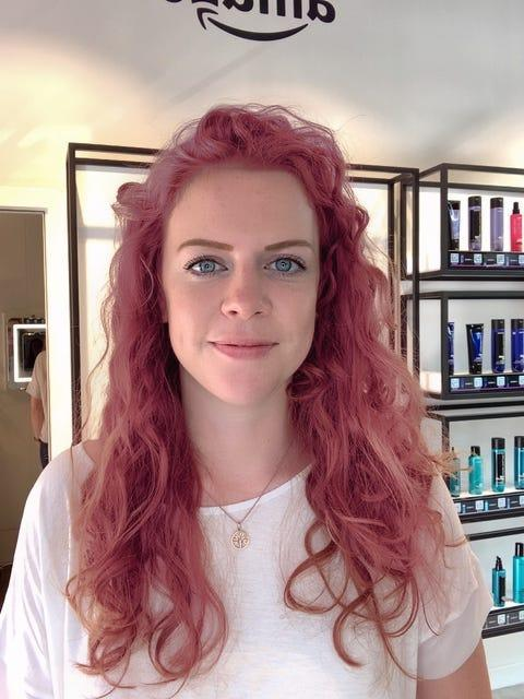 Selfie of hair color in Amazon's augmented-reality app