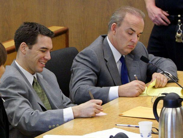 PHOTO: Scott Peterson sits in the courtroom at the San Mateo Superior Courthouse with his attorney Pat Harris during defense closing arguments in the penalty phase of Peterson's trial in Redwood City, Calif., Dec. 9, 2004. (Pool via Getty Images, FILE)