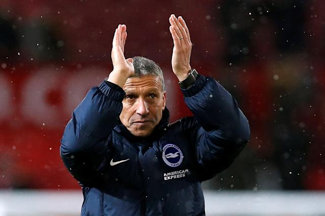 Soccer Football - FA Cup Quarter Final - Manchester United vs Brighton & Hove Albion - Old Trafford, Manchester, Britain - March 17, 2018 Brighton manager Chris Hughton applauds fans after the match REUTERS/Andrew Yates